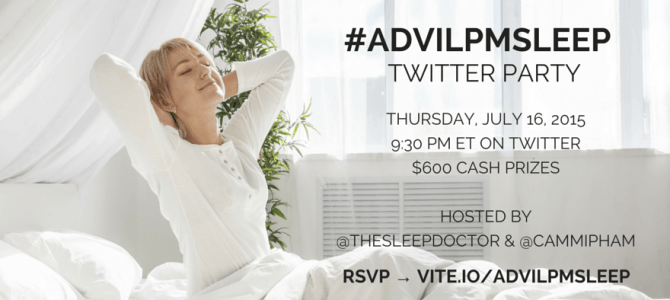 Join us for the #AdvilPMSleep Twitter chat with Dr. Breus, the Sleep Doctor on 7/16 at 9:30 PM #Ad