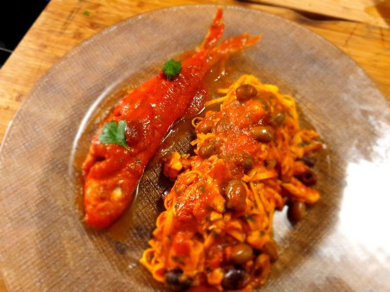 Le ricette di Miki Carriage: Tagliolini al sugo di triglia e olive taggiasche