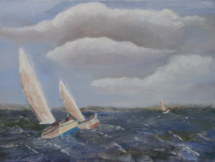 """Catboats Racing"" (oil), NFS"
