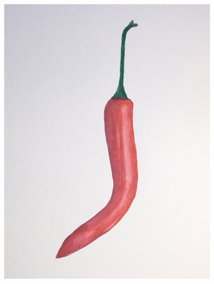 Red Pepper (watercolor on cold press paper, 6x8) - $5