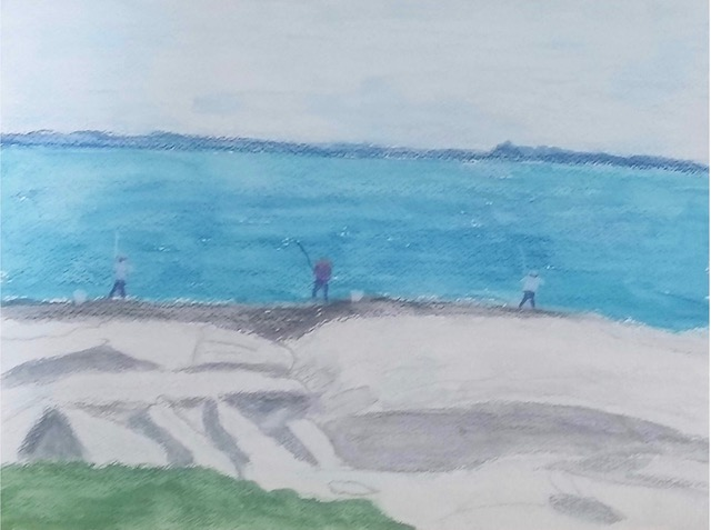 Men Fishing at Sachuest (water soluble pencil), NFS