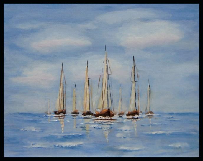 Sailing Fleet (oil on canvas panel, 11x14) - $80