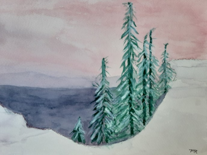 Crater Lake in Winter (watercolor on Arches paper, 9x12) - NFS