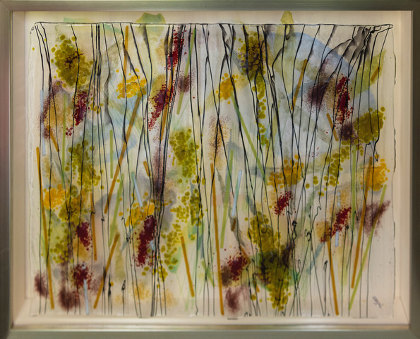 """Spring Arrives"" (watercolor collage w/ fine papers and a kiln fired glass overlay) - Price available upon request"