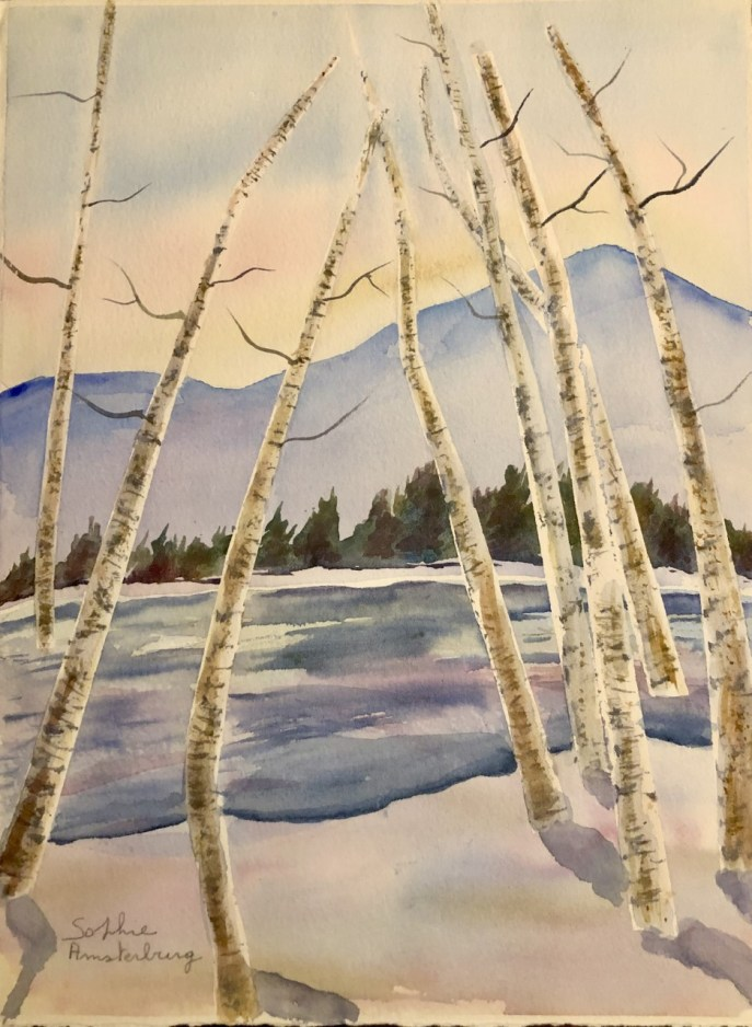 Lake and Birch Trees (watercolor, 11x14 on watercolor paper) - Price upon request