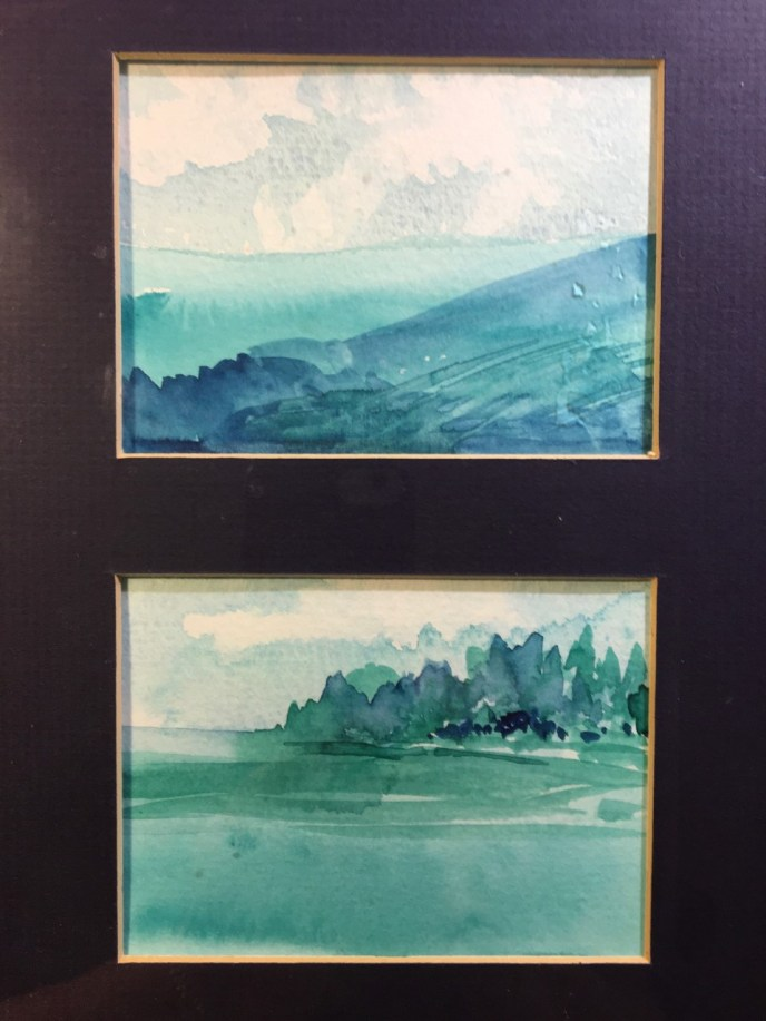 Blue Hills I and II, Diptych (watercolor, 9x12) - NFS