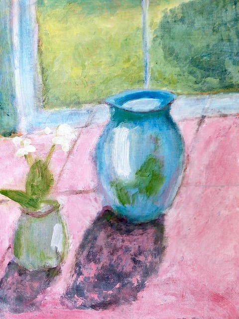 """Kathy Webster """"Blue Vase in the Sun"""" (acrylic), NFS"""
