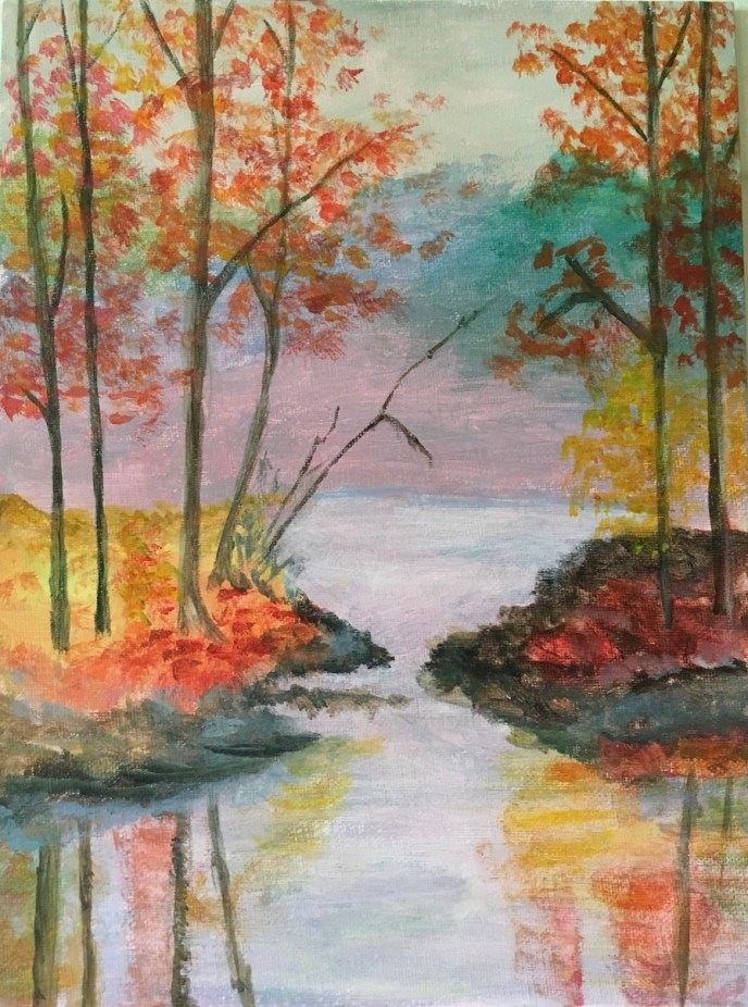 """Autumn by the Lake"" (acrylic), $60"