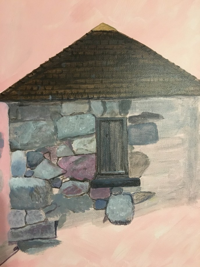 """Stone Cottage"" (acrylic), $125"