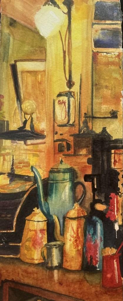 Tea or Coffee (watercolor, 7x16) - NFS