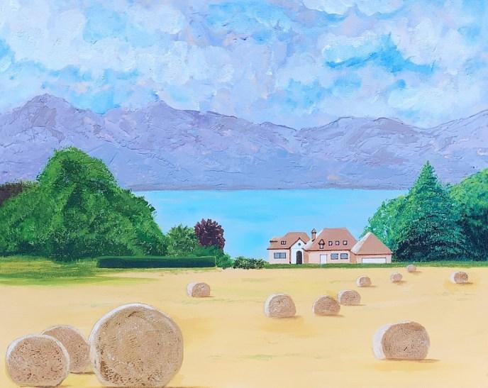 Le Lac Leman (Lake Geneva) (acrylic on canvas, 16x20) - NFS