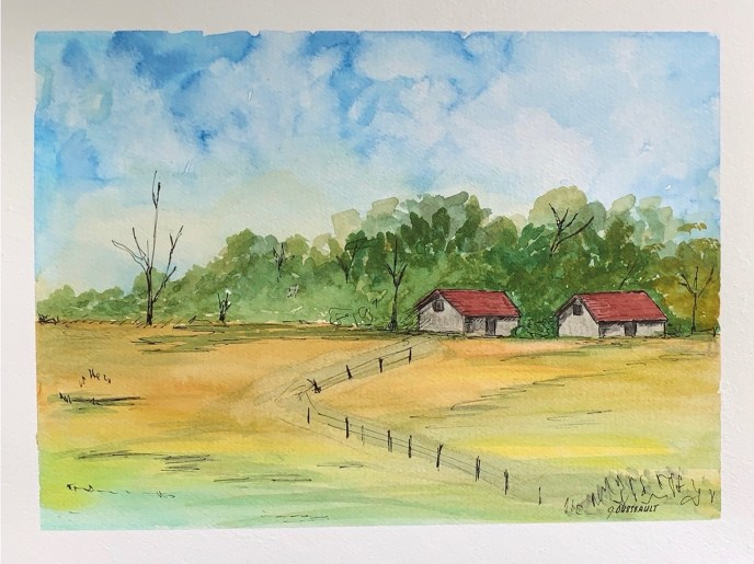 """Red Roof Stables"" (watercolor) - Negotiable"