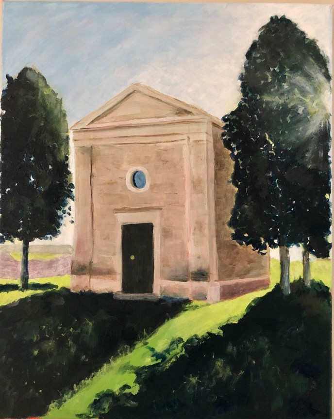 Chapel in Val d'Orcia, Tuscany (acrylic), NFS