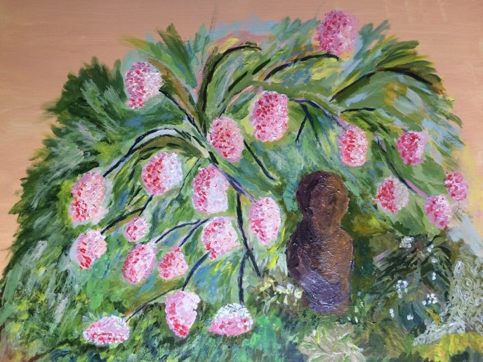 """Buddha with Hydrangeas"" (acrylic) - NFS"