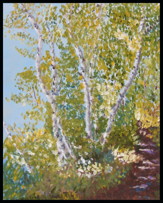 Happy Birch Trees (oil on canvas panel, 8x10) - SOLD