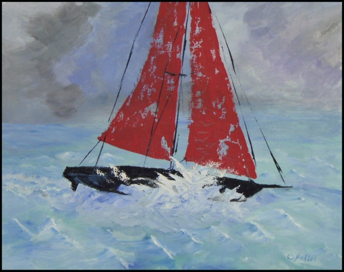 Racing Sloop (oil on canvas panel, 11x14) - $80