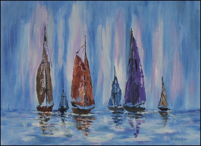 The Fleet Returns (oil on canvas, 12x16) - $100