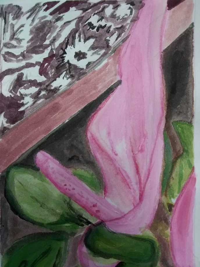 """Flower on a Table, Close Up"" (watercolor), NFS"
