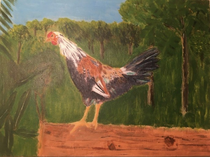 Tai, Rooster (acrylic on canvas panel), 9 x 12 - NFS