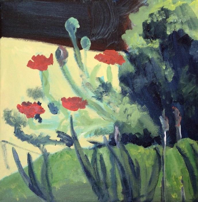 My May Garden: Poppies (acrylic, 12x12) - $25