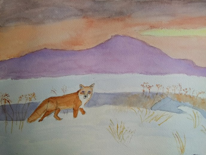 Red Fox in Quebec (watercolor and gouache, 9x12) - NFS