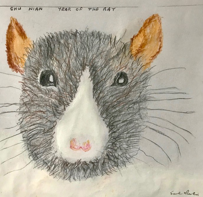 """Chinese Year of the Rat"" (acrylic, colored pencil), NFS"