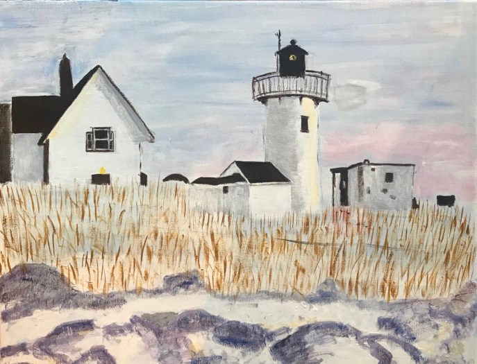 """""""Lighthouse in Winter"""" (acrylic), $100"""