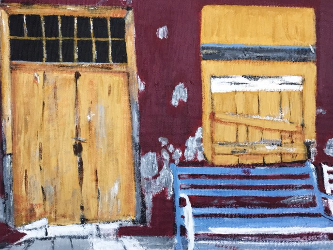 Blue Bench in Hydra, Greece (acrylic on canvas, 8x10) - Price Negotiable