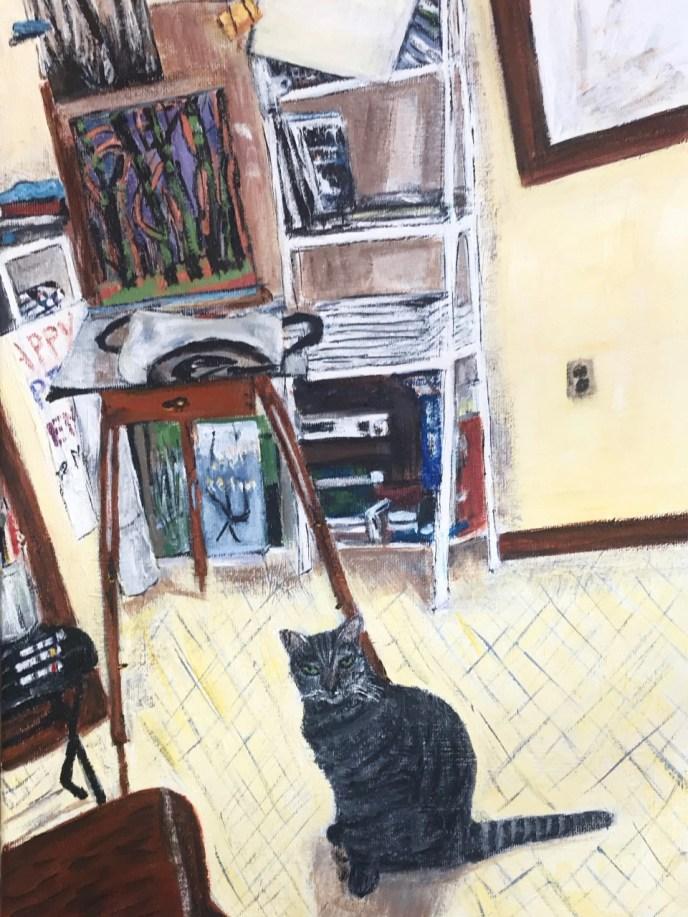 Possum and My Studio (acrylic on canvas, 11x14) - Price Negotiable