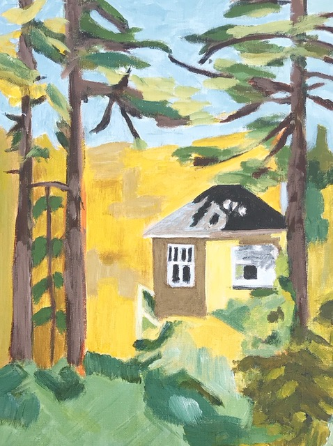 """Susan Van Horne """"In a Cottage in the Woods"""" (acrylic), Neg"""