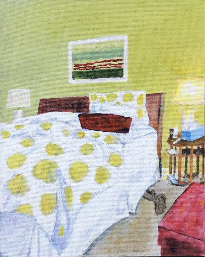 Morning, Before Making Bed (acrylic on canvas board, 8x10) - NFS