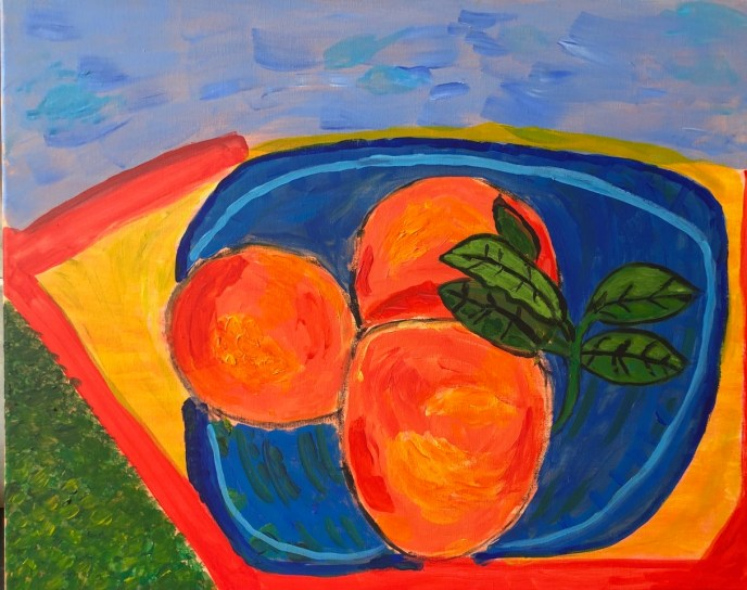 """Peaches on the Beach"" (acrylic) - NFS"