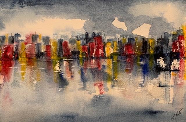 Urban Reflections (watercolor, 9x12) - $100
