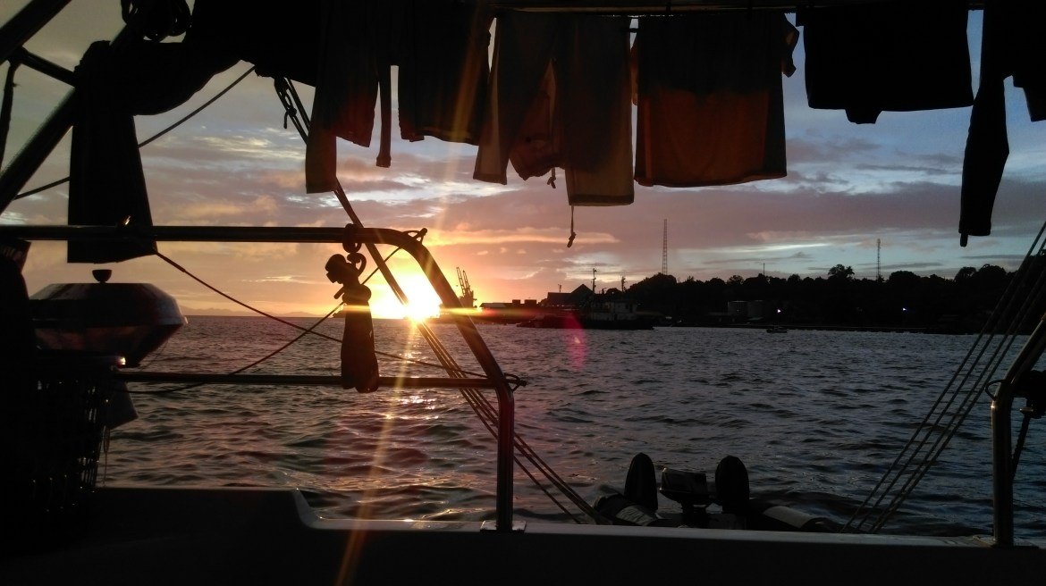 Our first sundown from the stern of Soggy Paws.