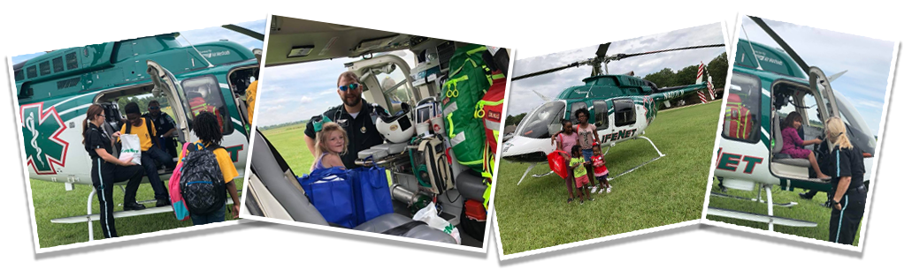 LifeNet Air medical helicopter flight medic and flight nurse teach about EMS to area kids.