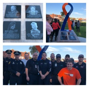 First responders stand in front of the Stillwater Strong memorial during it's dedication.