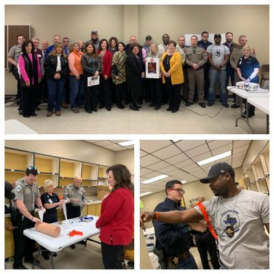 Bowie County employees learn about bleeding control basics during a Stop the Bleed Class taught by LifeNet EMS.