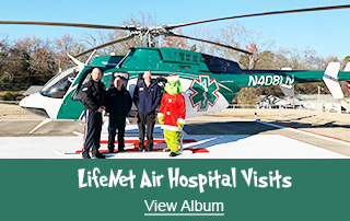 LifeNet Air and the Grinch Album Cover for Photos Delivering Hospital Nurses Gifts and EMS Agency Gifts