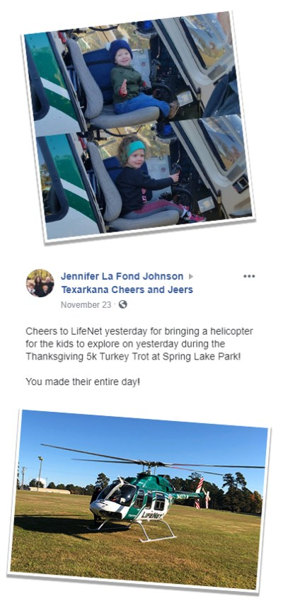 Photos of two kids inside the LifeNet Air medical helicopter along with a note from their mom. The kids are at the 5th Annual Turkey Trot at Springlake Park in Texarkana.