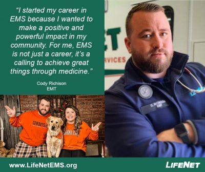 Cody Richison, EMT, LifeNet EMS, Stillwater, OK
