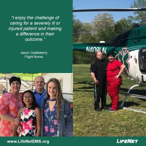Jason Castleberry is a flight medic on LifeNet Air 2 in Hot Springs, Arkansas.