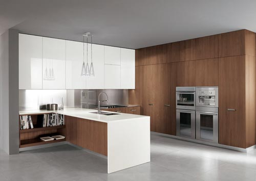Exceptionnelle Italian Modern Walnut And White Gloss Lacquer Kitchen Furniture Design From  Barrique Ernestomeda