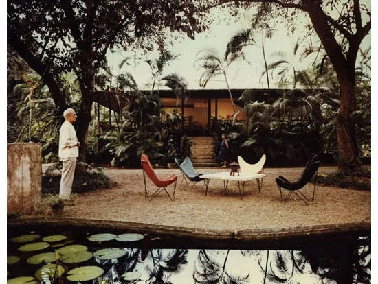 Knoll Hardoy Butterfly Chairs in garden