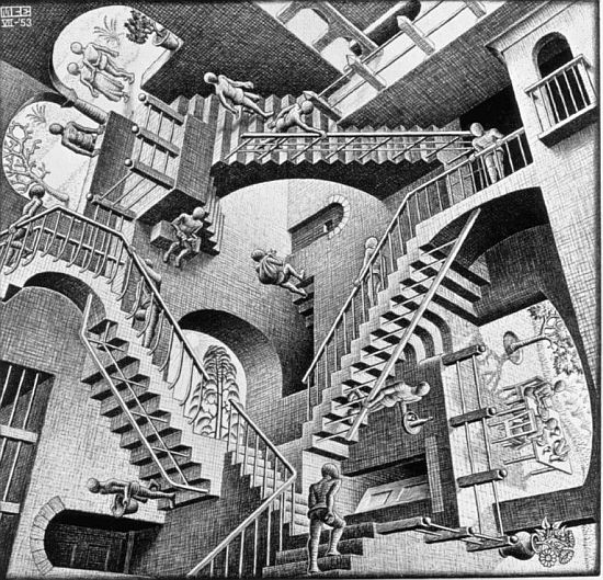 "M C Escher drawing ""Relativity"""