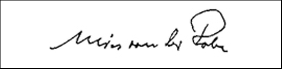 the signature of architect Mies van der Rohe