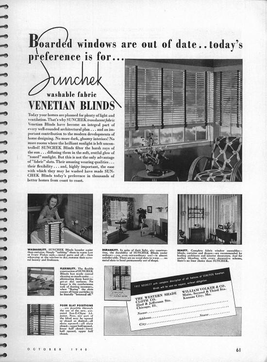 Sunchek Venetian Blinds Ad Architectural Forum Magazine