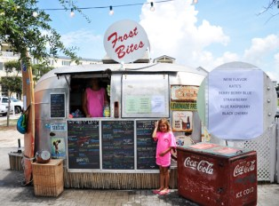 Kate's flavor Berry Berry Blue sno cone at Frost Bite in Seaside FLorida