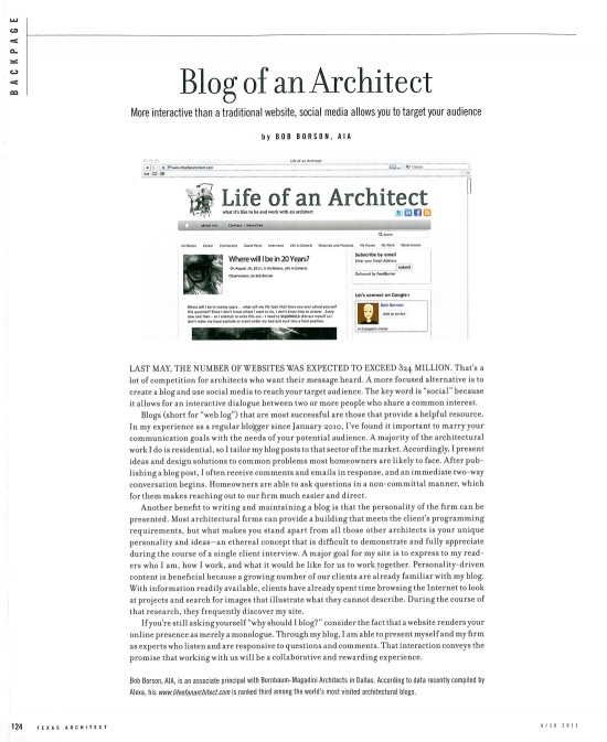 Blog of an Architect - Texas Architect Article Sept Oct 2011