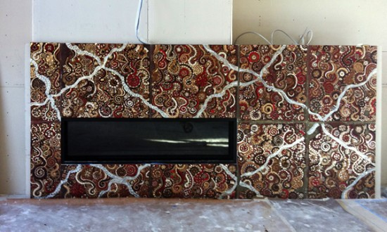 mosaic tile fireplace surround