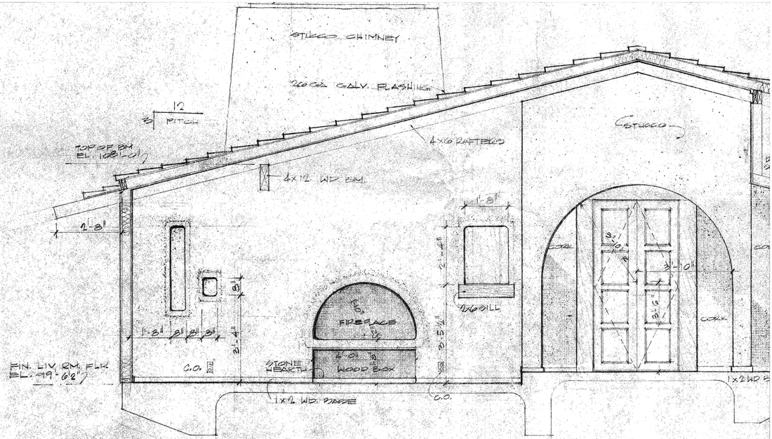1960's Architectural Drawing - Fireplace Elevation